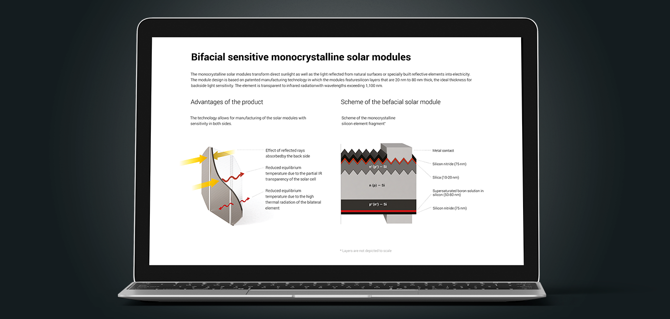 Bifacial solar moduels - technical illustration